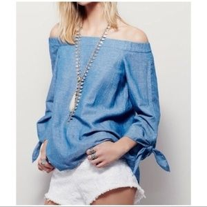 Free People Chambray Off the Shoulder Boho Blouse